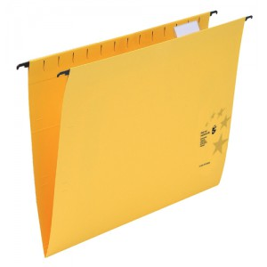 5 Star Suspension Files Manilla Wrapover Bar Tabs and Inserts Foolscap Yellow Ref 100331411 [Pack 50]