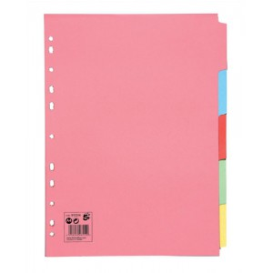 5 Star Subject Dividers Multipunched Manilla Board 5-Part A4 Assorted [Pack 50]