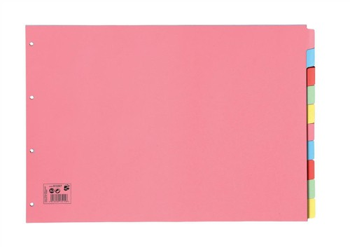 5 Star Subject Dividers Multipunched Manilla Board 10-Part Oblong A3 Assorted