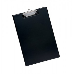 5 Star Fold-over Clipboard with Front Pocket Foolscap Black