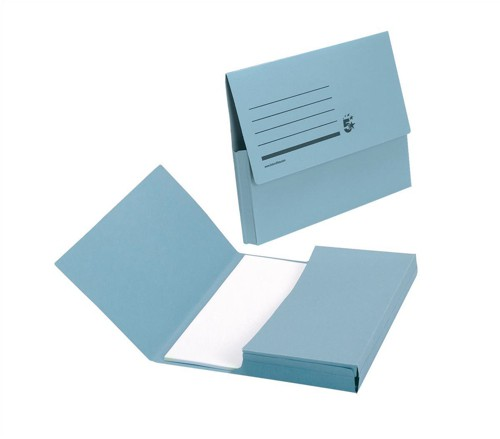 5 Star Document Wallet Half Flap 285gsm Capacity 32mm A4 Blue [Pack 50]