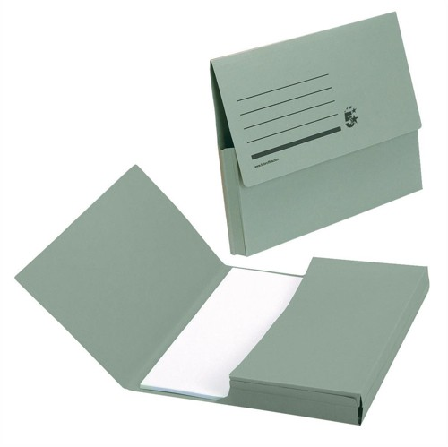 5 Star Document Wallet Half Flap 285gsm Capacity 32mm A4 Green [Pack 50]
