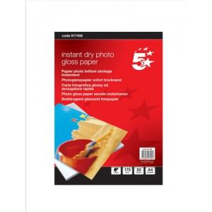 5 Star Photo Inkjet Paper Gloss 175gsm A4 White [50 Sheets]