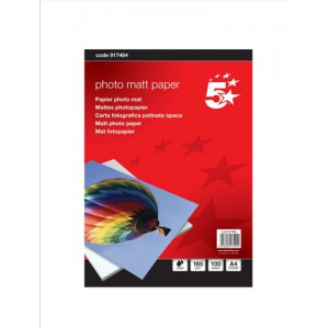 5 Star Inkjet Paper Matt 165gsm A4 White [100 Sheets]