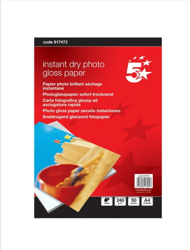 5 Star Photo Inkjet Paper Gloss 240gsm A4 White [50 Sheets]