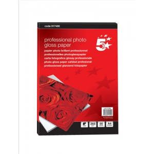 5 Star Photo Inkjet Paper Gloss 265gsm A4 White [50 Sheets]