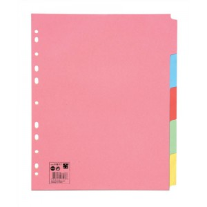 5 Star Subject Dividers Multipunched Manilla Board 5-Part Extra Wide A4 Assorted