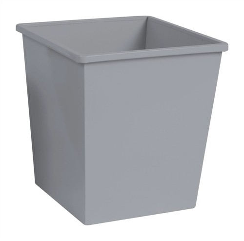 5 Star Waste Bin Square Iron Scratch Resistant W325xD325xH350mm 27 Litres Silver Metallic