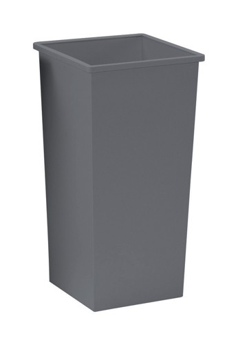 5 Star Waste Bin Square Metal Scratch-resistant W325xD325xH630mm 48 Litres Silver Metallic