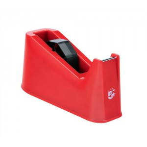 5 Star Tape Dispenser Desktop Weighted Non-slip Roll Capacity 25mm Width 66m Length Red
