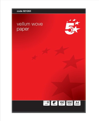 5 Star Business Paper Prestige Wove Finish Ream-Wrapped 100gsm A4 Vellum [500 Sheets]