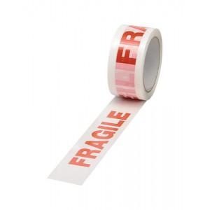 Printed Tape Fragile Polypropylene 50mmx66m Red on White