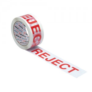 Printed Tape Reject Polypropylene 50mm x 66m Red on White [Pack 6]