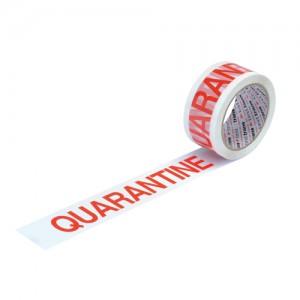 Printed Tape Quarantine Polypropylene 50mm x 66m Red on White [Pack 6]