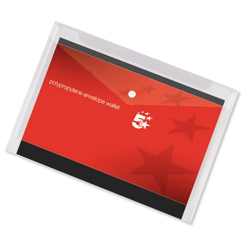 5 Star Envelope Wallet Polypropylene A3 Transparent [Pack 5]