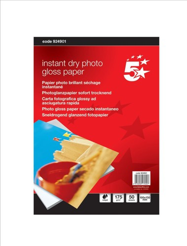 5 Star Paper Inkjet Photo Gloss Fast Drying 175gsm 100x150mm [50 Sheets]