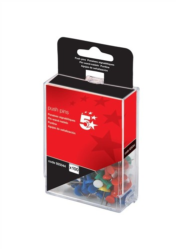 5 Star Push Pins Assorted Opaque [Pack 100]