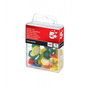 5 Star Indicator Pins 15mm Head Assorted [Pack 20]