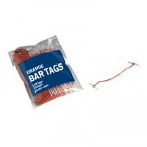 5 Star Treasury Tags Plastic-ended 101mm Orange [Pack 100]