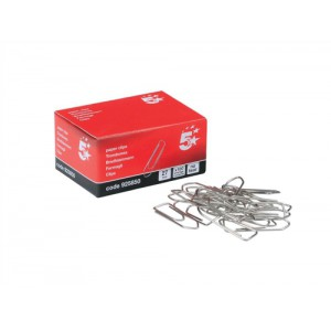 5 Star No Tear Paperclips Large Length 27mm [Pack 10x100]
