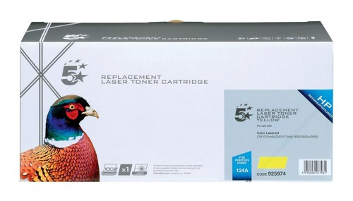 5 Star Compatible Laser Toner Cartridge Page Life 2000pp Yellow [HP No. 124A Q6002A Alternative]
