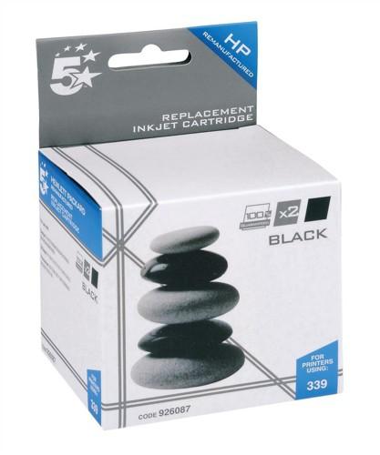 5 Star Compatible Inkjet Cartridge Page Life 1600pp Black [HP No.339 C9504EE Alternative] [Pack 2]