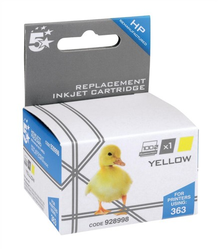 5 Star Compatible Inkjet Cartridge Page Life 350pp Yellow [HP No. 363 C8773EE Alternative]