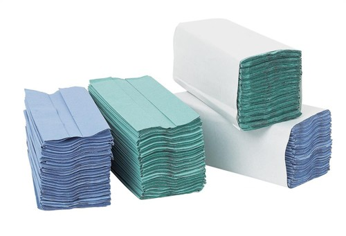 5 Star Hand Towel C-Fold One-ply Recycled Material Sheet Size 230x305mm Blue [2800 Sheets]