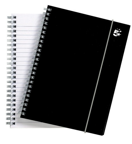 5 Star Notebook Wirebound Polypropylene Elasticated 80gsm A5 Black [Pack 6]