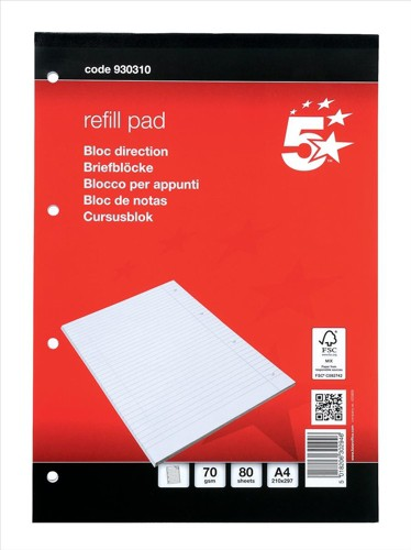 5 Star Refill Pad FSC Feint Headbound Ruled with Margin 60gsm 4-Hole Punched 80 Sheets A4 [Pack 10]