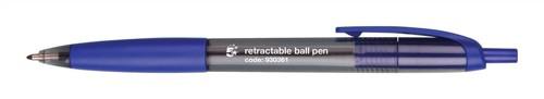 5 Star Grip Ball Pen Retractable Medium 1.0mm Tip 0.7mm Line Blue Ref KB1340 [Pack 12]