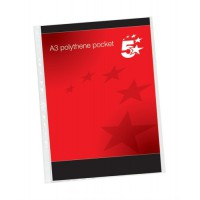 Image for 5 Star Punched Pocket Polypropylene Top-opening 120 micron Portrait A3 Ref 4899P10 [Pack 25]