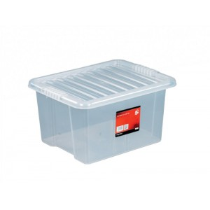 Storage Box Plastic with Lid Stackable 35 Litre Clear