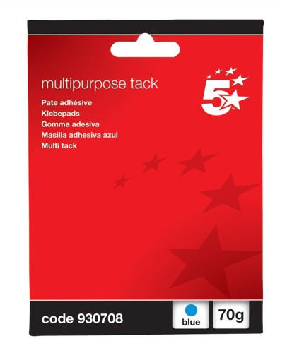 5 Star Multipurpose Tack Adhesive Re-usable Non-toxic 70g Blue [Pack 12]