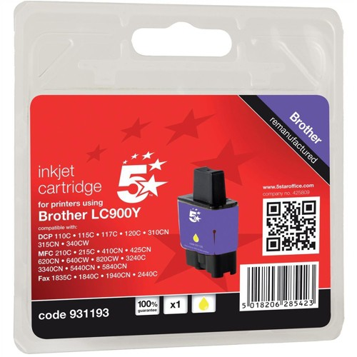 5 Star Compatible Inkjet Cartridge Page Life 400pp Yellow [Brother LC900Y Alternative]