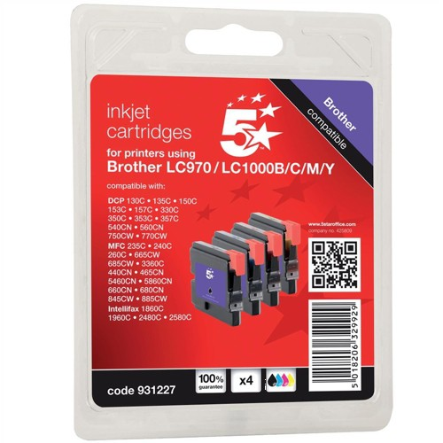 5 Star Compatible Inkjet Cartridges Page Life 4x400pp 4 Colour CMYK [Brother LC1000VALBP Alternative]