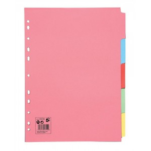 5 Star Subject Dividers Multipunched Manilla Board 5-Part A4 Assorted [Pack 10]