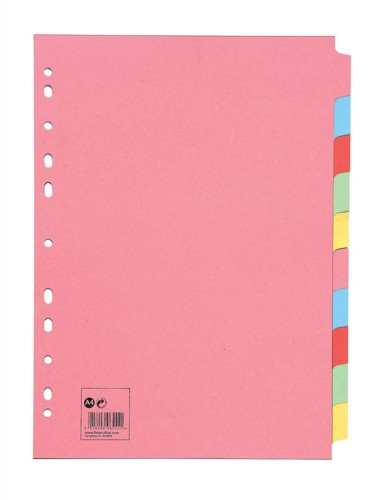 5 Star Subject Dividers Multipunched Manilla Board 10-Part A4 Assorted [Pack 10]