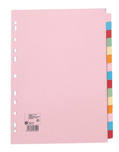 5 Star Subject Dividers Multipunched Manilla Board 15-Part A4 Assorted [Pack 10]