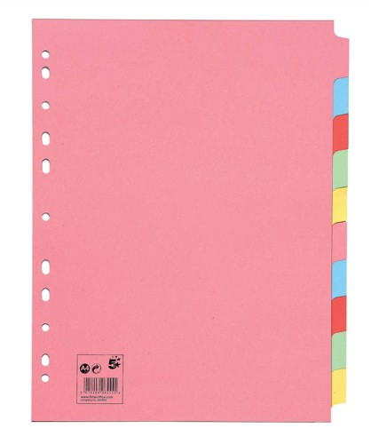 5 Star Subject Dividers Multipunched Manilla Board 10-Part Extra Wide A4 Assorted [Pack 10]