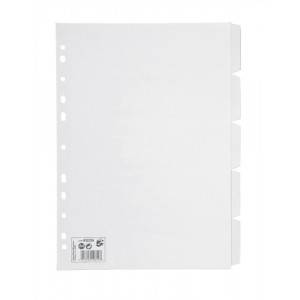 5 Star Subject Dividers Multipunched Manilla Card 5-Part A4 White [Pack 10]