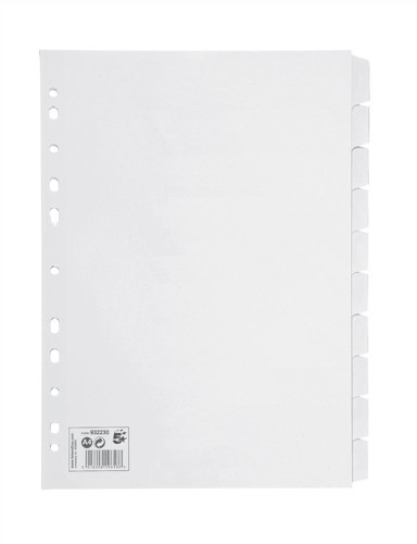 5 Star Subject Dividers Multipunched Manilla Card 10-Part A4 White [Pack 10]
