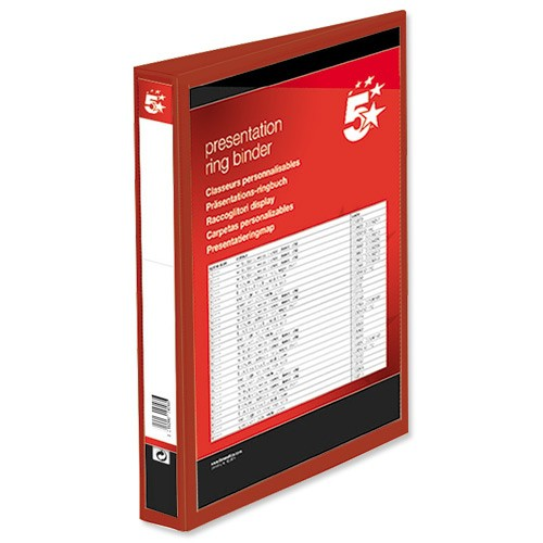 5 Star Presentation Ring Binder PVC 4 D-Ring 25mm Size A4 Red [Pack 10]
