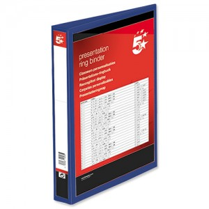 5 Star Presentation Ring Binder PVC 4 D-Ring 38mm Size A4 Blue [Pack 10]