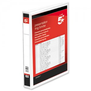 5 Star Presentation Ring Binder PVC 2 D-Ring 40mm Size A4 White Ref 36130 [Pack 10]