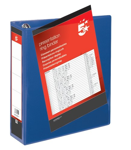 5 Star Presentation Ring Binder PVC 4 D-Ring 65mm Size A4 Blue [Pack 10]