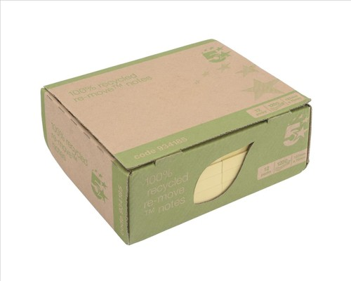 5 Star Re-Move Recycled Notes Repositionable Pad of 100 Sheets 76x127mm Yellow [Pack 12]