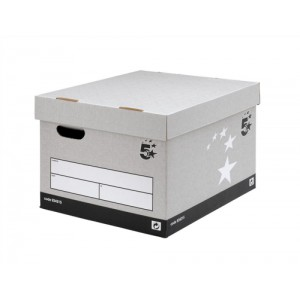 5 Star Storage Box Self-Assembly W380xD430xH287mm Grey [Pack 10]
