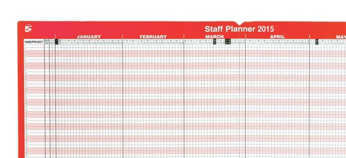 5 Star 2015 Staff Planner Mounted