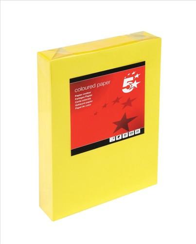 5 Star Tinted A4 80gsm Deep Yellow Pk500